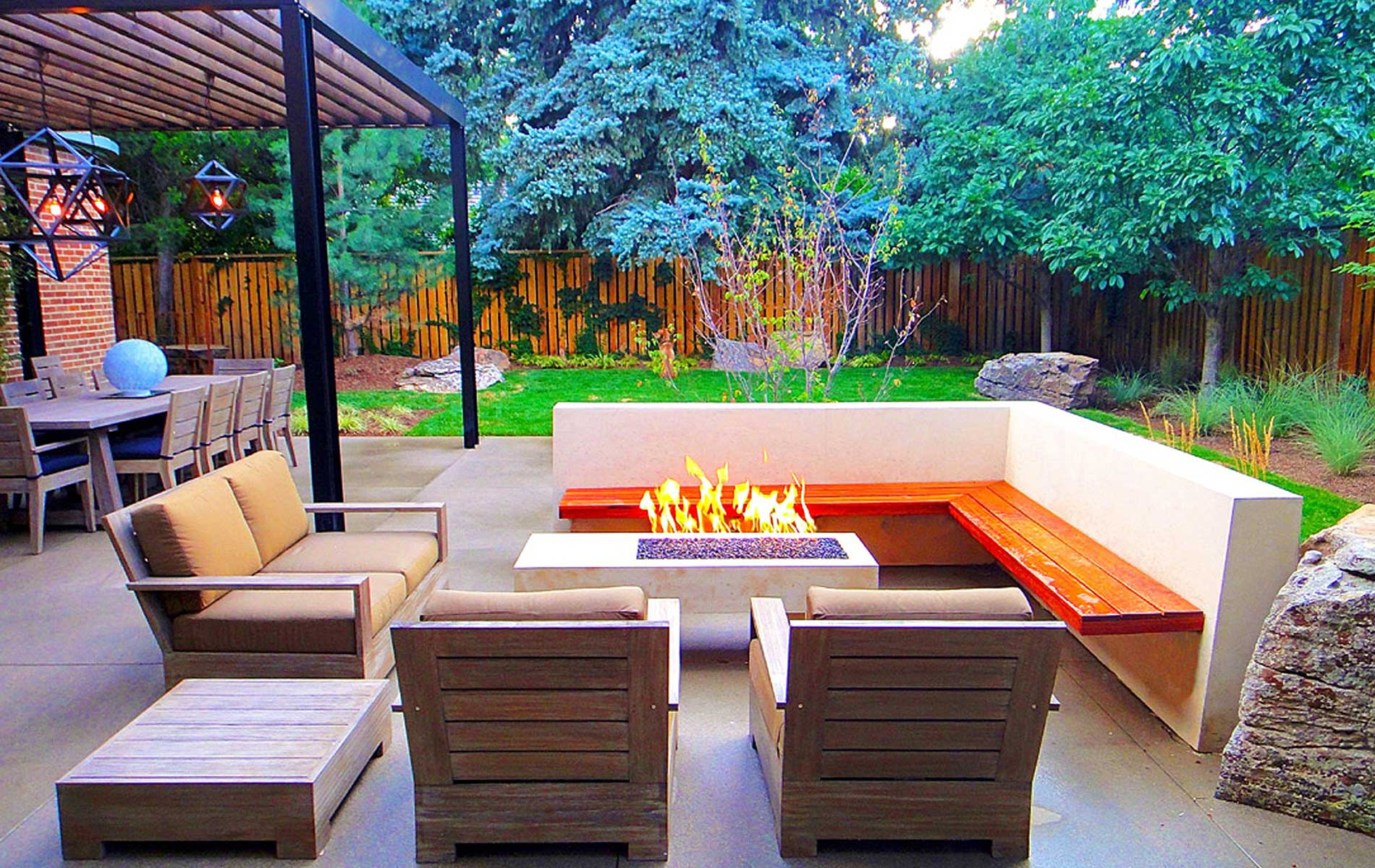 Sleek Modern Outdoor Living Space in Park Hill - Mile High ... on Small Backyard Living Spaces  id=58869