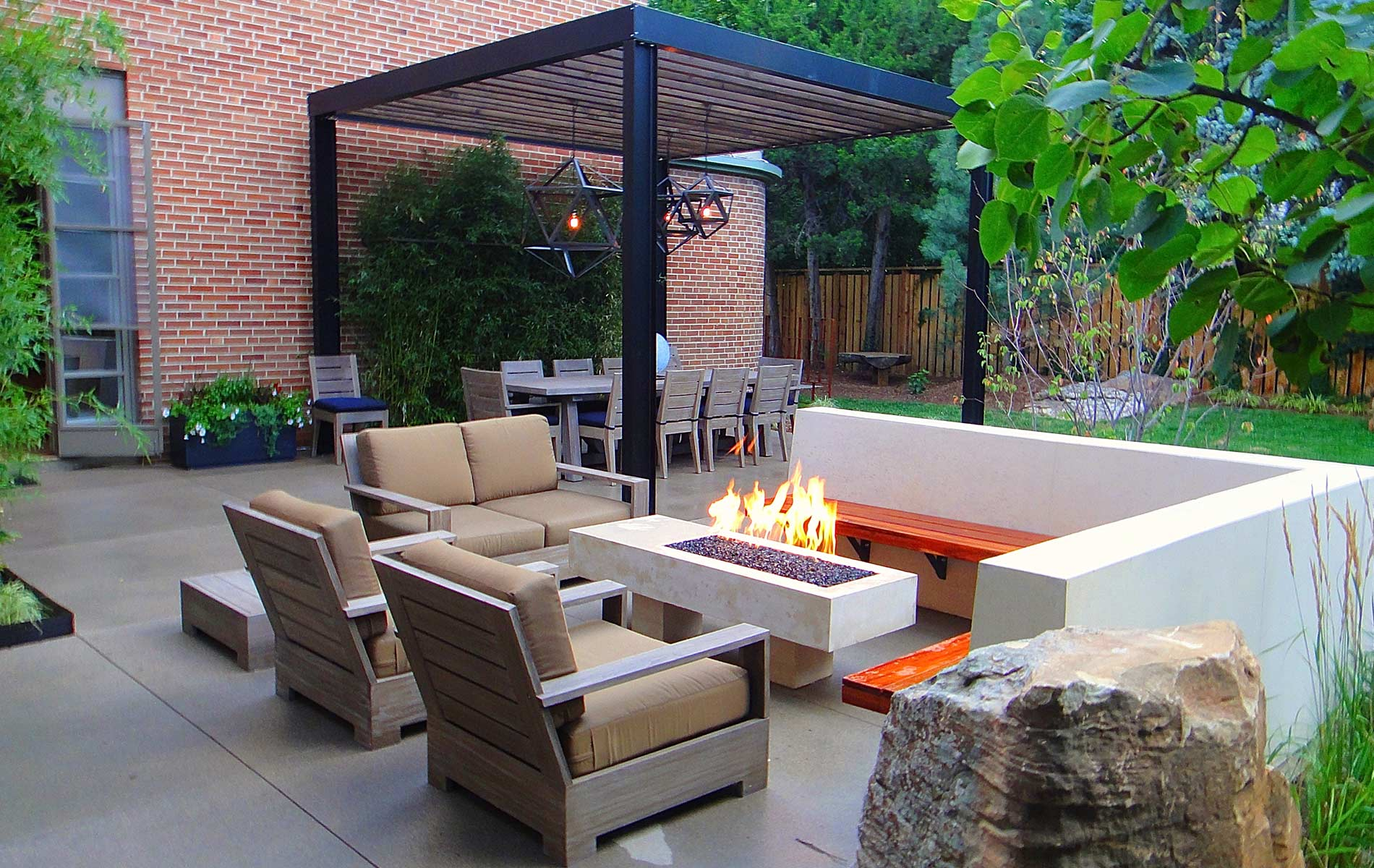 Sleek Modern Outdoor Living Space in Park Hill - Mile High ... on Designer Outdoor Living  id=95845