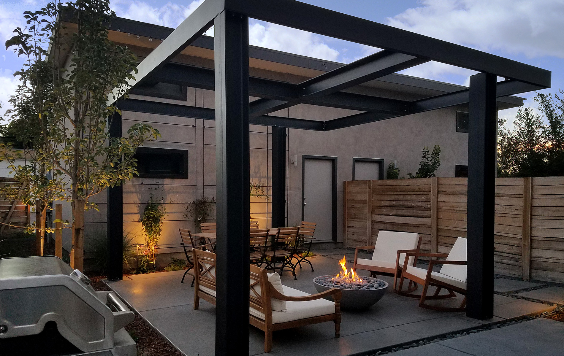Ultra Modern Backyard Outdoor Living Area - Highlands ... on Outdoor Living And Landscapes id=27798