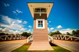 The grand entrance at WaterSound Origins is something of a landmark on Hwy 98.
