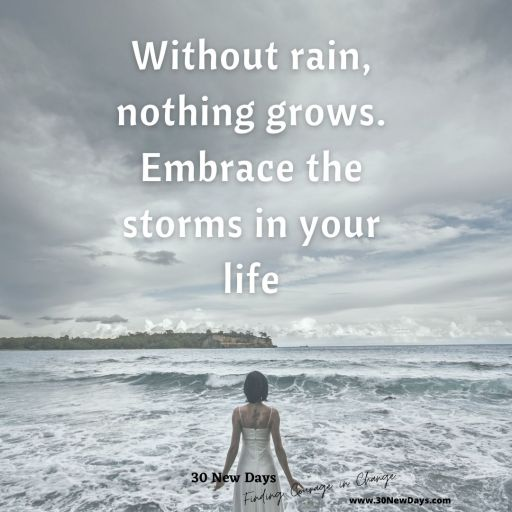 Without rain, nothing grows. Embrace the storms in your life