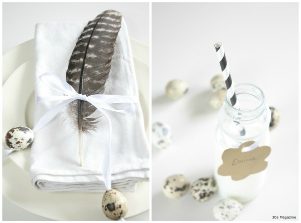 place setting feather and eggs