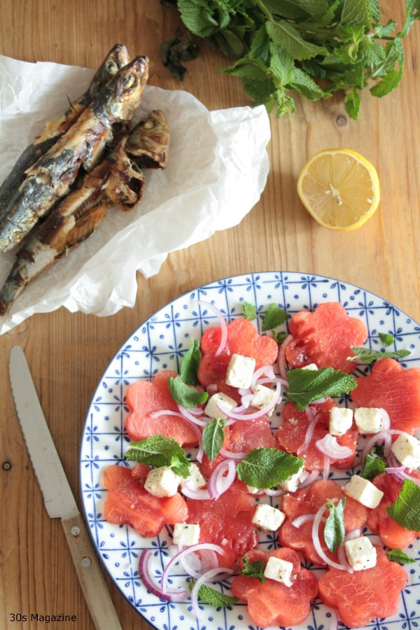 watermelon sardines and feta salad