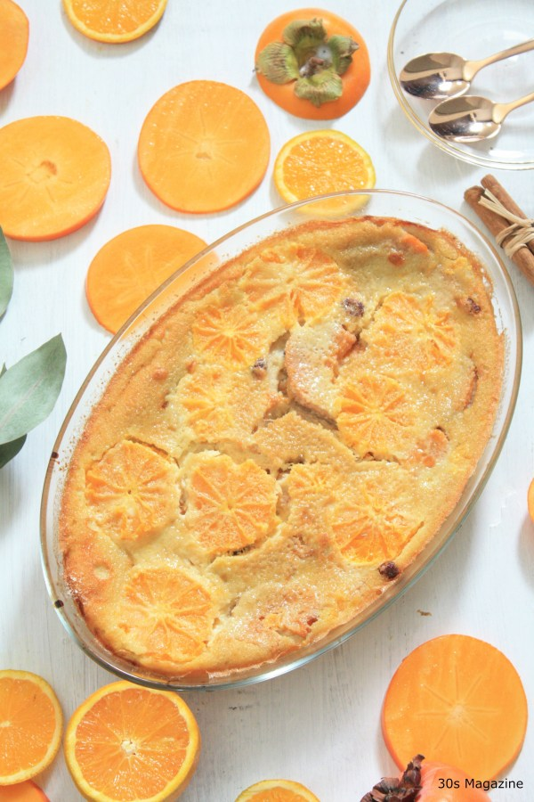clafoutis with orange and persimmon