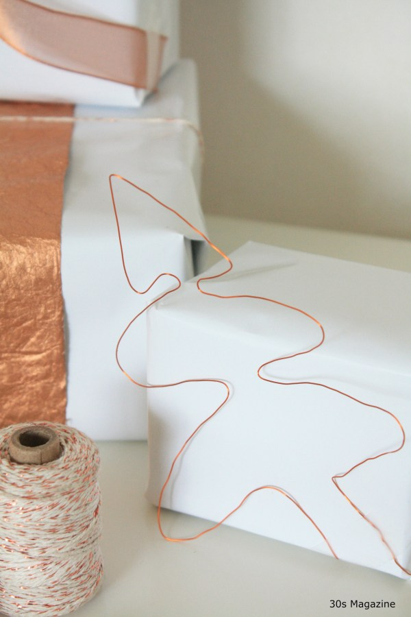 gift wrap with copper thread