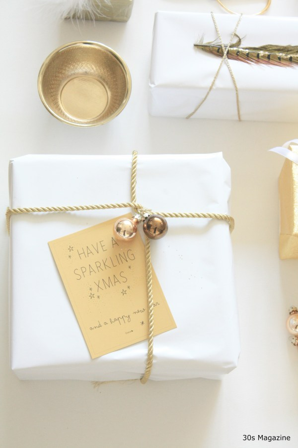 gold and white gift wrapping by 30smagazine