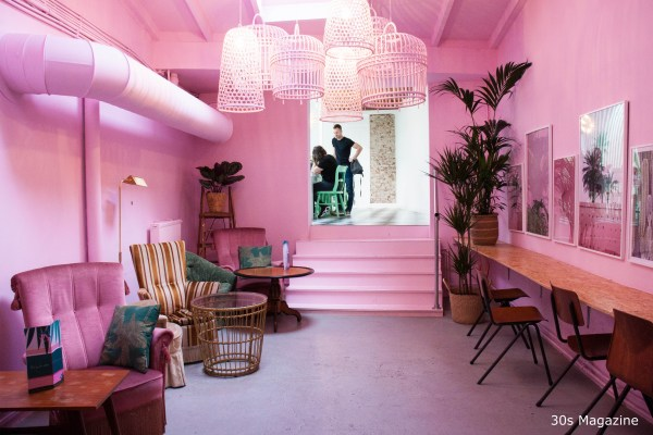 pink interior of Cafe Martinus Haarlem