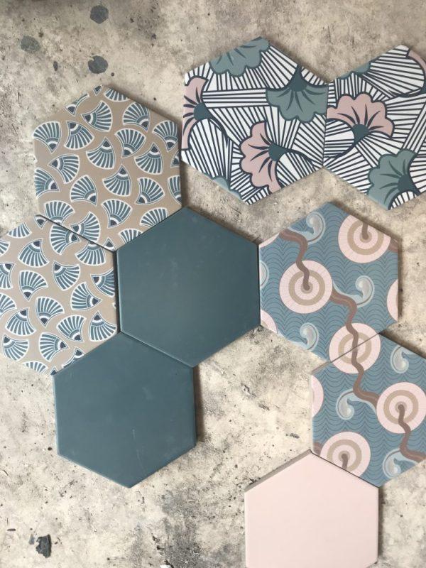 cevica tiles with kimono print