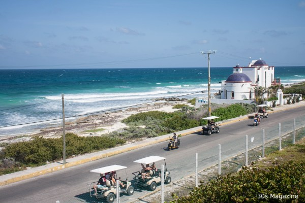 golf carts on the coastal road
