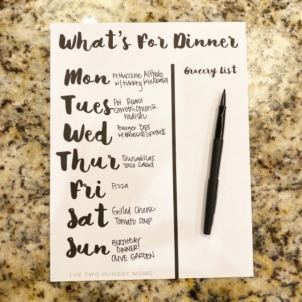 example of vertical meal plan