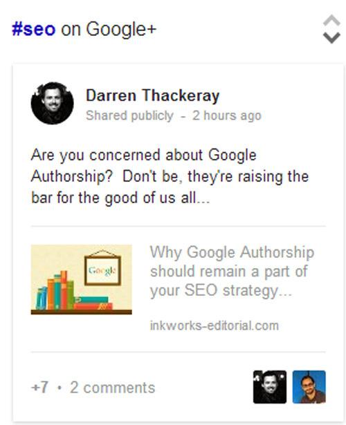 Entradas de Google+ en los SERPs