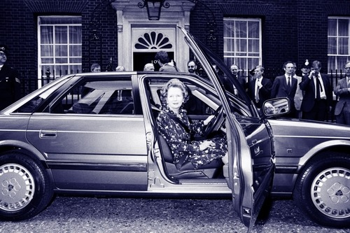 Margaret Thatcher at the wheel of an Austin Rover