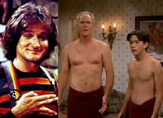 Mork, Dick, and Tom, half naked.