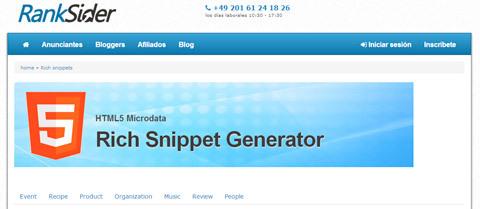 Rich Snippet Generator para crear fragmentos enriquecidos de Schema org