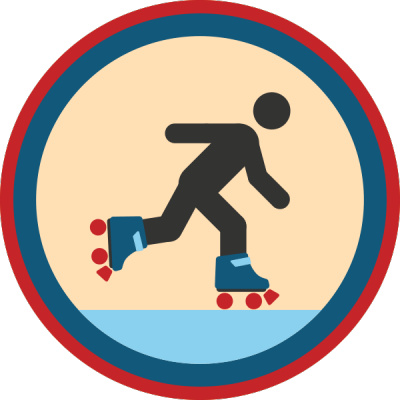 Lifescouts: Roller-Skating Badge<br /> If you have this badge, reblog it and share your story! Look through the notes to read other people's stories.<br /> Click here to buy this badge physically (ships worldwide).<br /> Lifescouts is a badge-collecting community of people who share their real-world experiences.