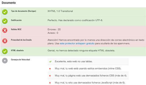 información sobre le código de tu página web y la velocidad en que la página se carga