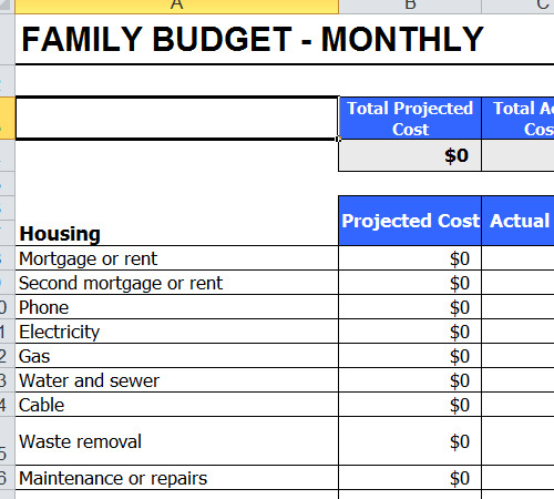 Family Budget Template Xls