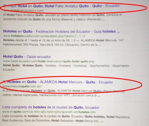 búsqueda en google por ipad: los títulos están cortados