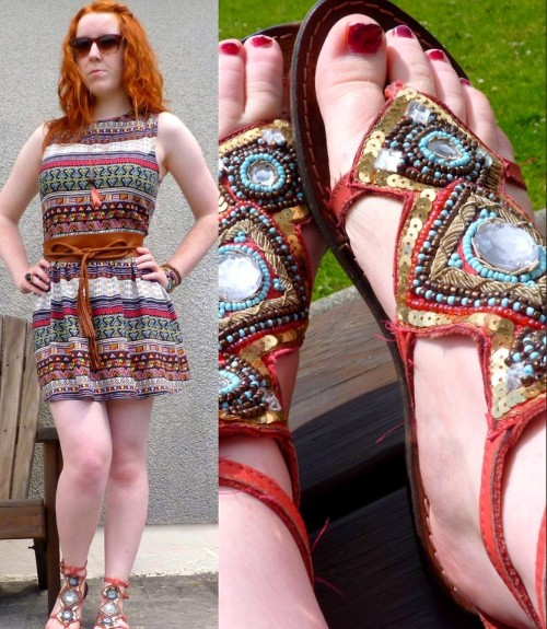 Coral collaboration. (by Hannah H)#summer, #dress, #tribal, #gladiatorsandals, #fashion, #streetstyle, #love