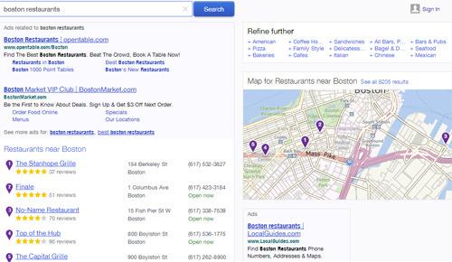 búsqueda local Yahoo: ejemplo Boston