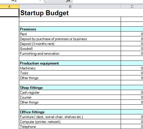 Startup budget template excel for Start up business plans free templates