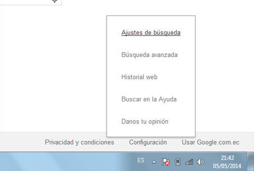 Configuración de Google para cambiar número de los resultados de búsqueda