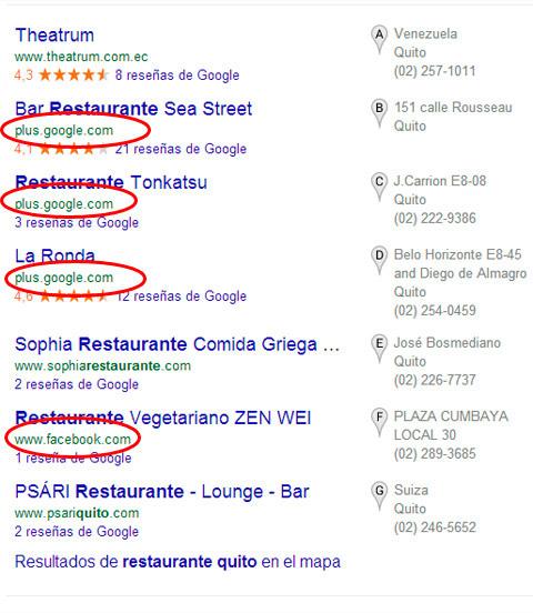 restaurantes Quito con página de Google+ o Facebook