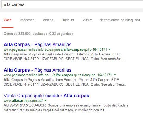 directorios locales pueden tener un mejor ranking en Google que págins web de empesas