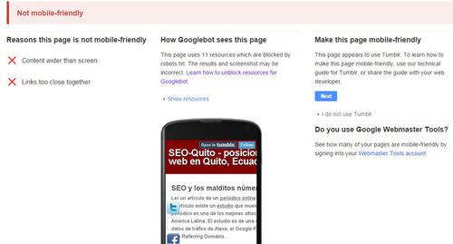 Google: Mobile-Friendly Test para revisar páginas web para dispositivos móviles