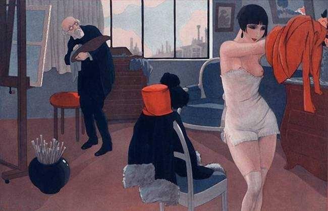 Fabius (Alberto Fabio) Lorenzi (Italian) :  After Sitting. 1925 via Vasilyt
