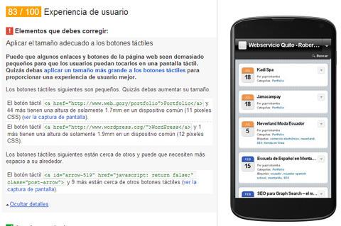 Google PageSpeed Insight para revisar la velocidad y la usabildiad de sitios web móviles