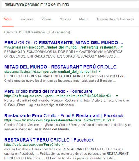 búsqueda por un restaurante cerca del mitad del mundo