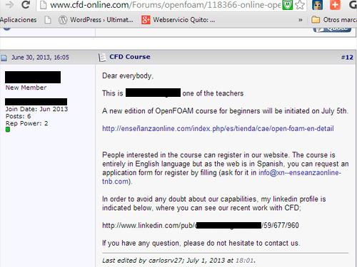 La persona que me envió el mail y que compró el dominio technicalcourses.net es según él profesor de enseñanzaonline.com (Foro de Cfd-online)