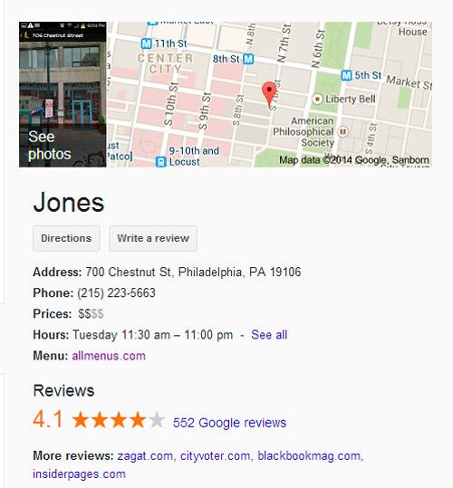 el menú del restaurante viene de otra página web que Google utiliza para mejorar sus resultados de búsqueda