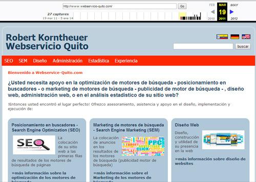 página web de Webservicio Quito el 19 de marzo 2011 - Way Back Machine
