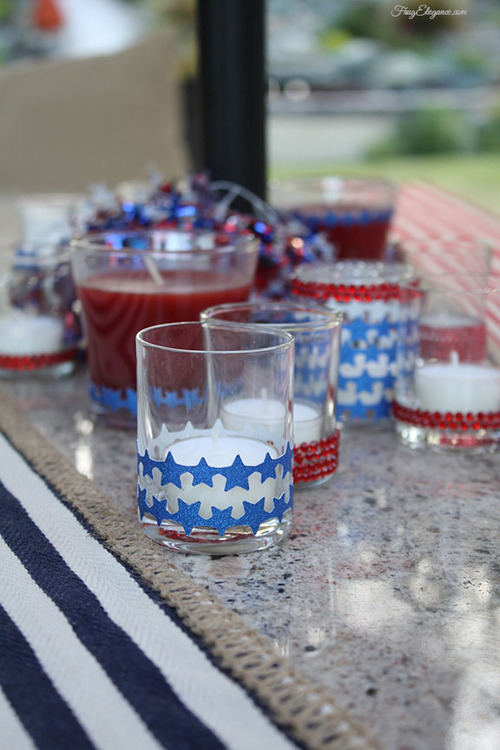Easy to Decorate Votive Candles- 4th of July