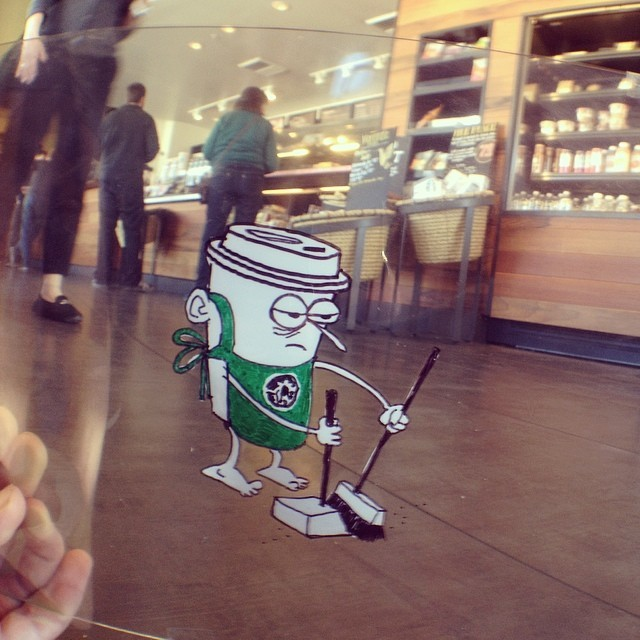Workin' for 'the man'. #sellout @starbucks #sharpie #whiteout #transparency #animationcel