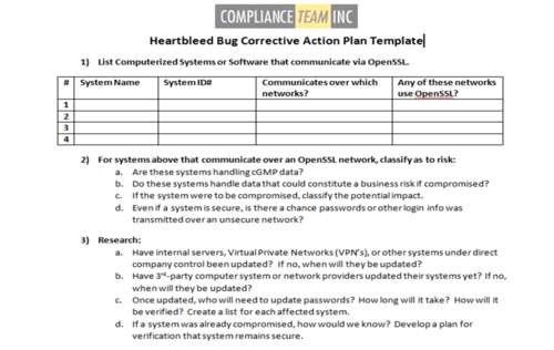 Heartbleed bug corrective action plan template compliance team inc share this pronofoot35fo Gallery