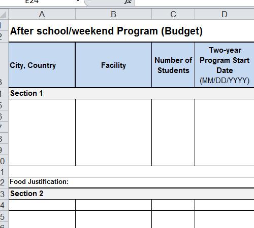 After School Program Budget Template