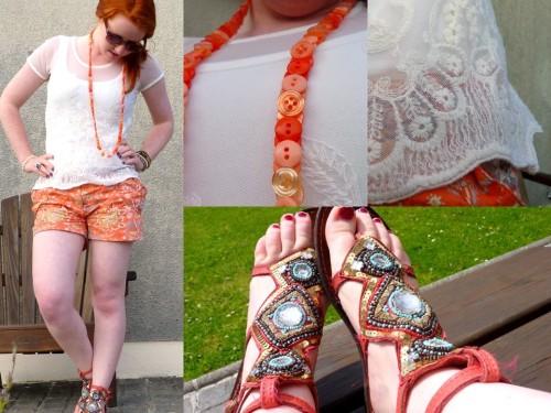Corange. (by Hannah H)Cream + Orange = Corange.   #summer, #streetstyle, #redhead, #orange, #coral, #riverisland, #primark, #fashion