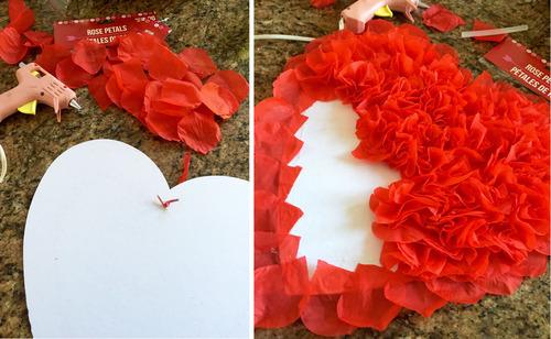 Valentine's Rose Petal Heart | FrugElegance | www.frugelegance.com