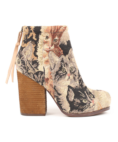 "Friday FripperiesJeffrey Campbell Rumble Bootie in Cat Tapestry at I Dont Like Mondays I cannot decide if I would ever wear these, but I find them quite charming, nonetheless!rumble boot in cat tapestry from jeffrey campbell / zip back closure, rounded toe, and chunky stacked wooden heel / fabric upper, genuine leather inner, rubber sole / 8"" shaft, 4.25"" heel, .25"" platform / fits true to size / imported  $147"