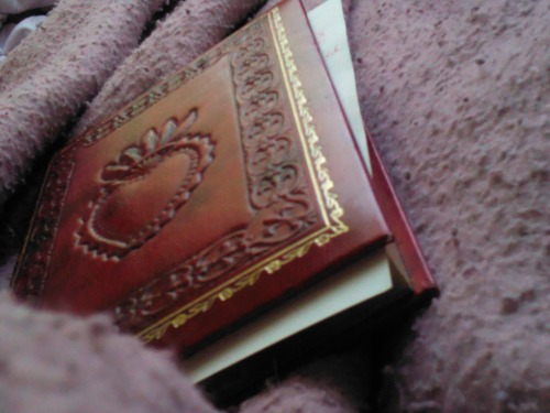 Cuddled up and writing in my witch book in the morning.