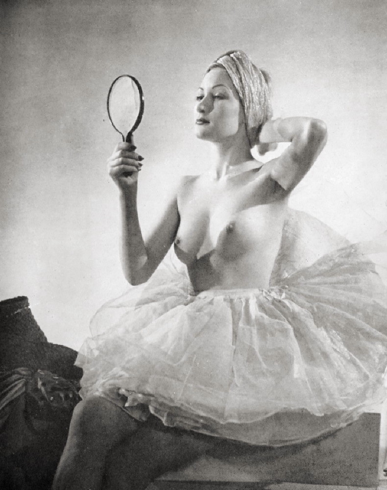 wickedknickers:  Mirror, mirror…  Pretty ballerina? Nah, her tits are too big, right?