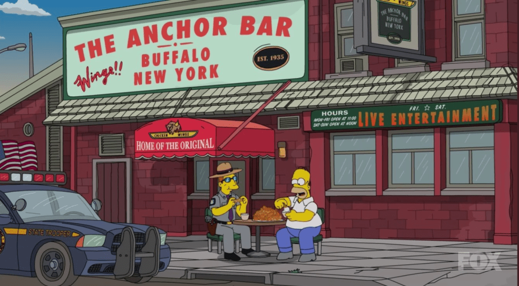 Homer Simpson has some Chicken Wings at Anchor Bar in Buffalo, NY with a NYS Trooper