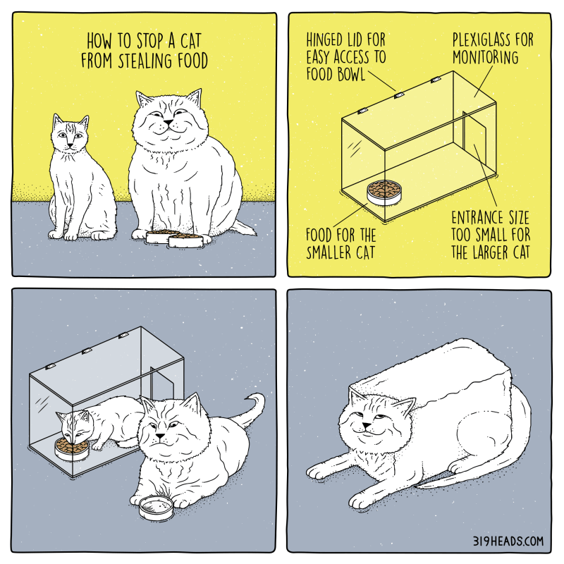 319 Heads Comics: How to Stop a Cat from Stealing Food