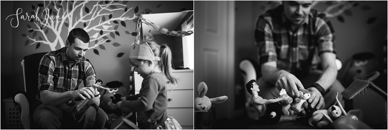 Dad playing dolls with daughter Sarah Jane Photography Maine Family Photographer