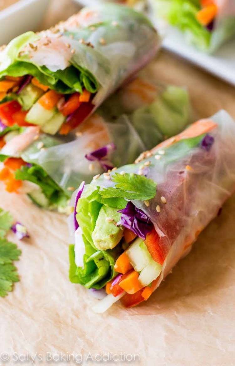 healthy snack ideas for work, Homemade Fresh Summer Rolls with Easy Peanut Dipping Sauce