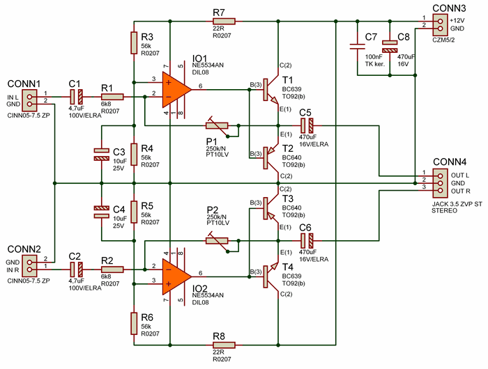 Simple Quality Headphone Amplifier 12V NE5534AN