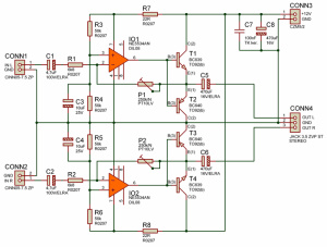 Simple Quality Headphone Amplifier 12V NE5534AN  Electronics Projects Circuits